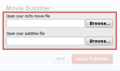Browse for movie and subtitle file with Free Movie Subtitler