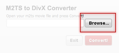 Browse for movies with M2TS to DivX Converter