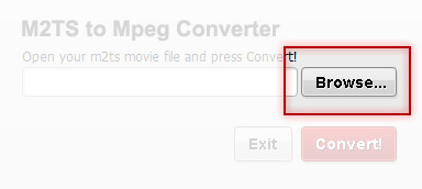 Browse for movies with M2TS to Mpeg Converter